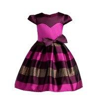 Flower Girl Dress Princess Costume Lush Ruffles Kids Clothes Sleeveless Party Dress Children Prom Striped Dress