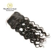 """Mayflower 4X"""" Кружева закрытия девственницы малазийские воды Волнистые полностью связанный вручную с детскими волосами линии натурального цвета 8-18"""""""
