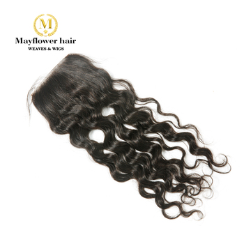"Mayflower 4X4"" lace closure Virgin Malaysian water wavy Full hand tied with baby hair line Natural color 8-18"" in stock"