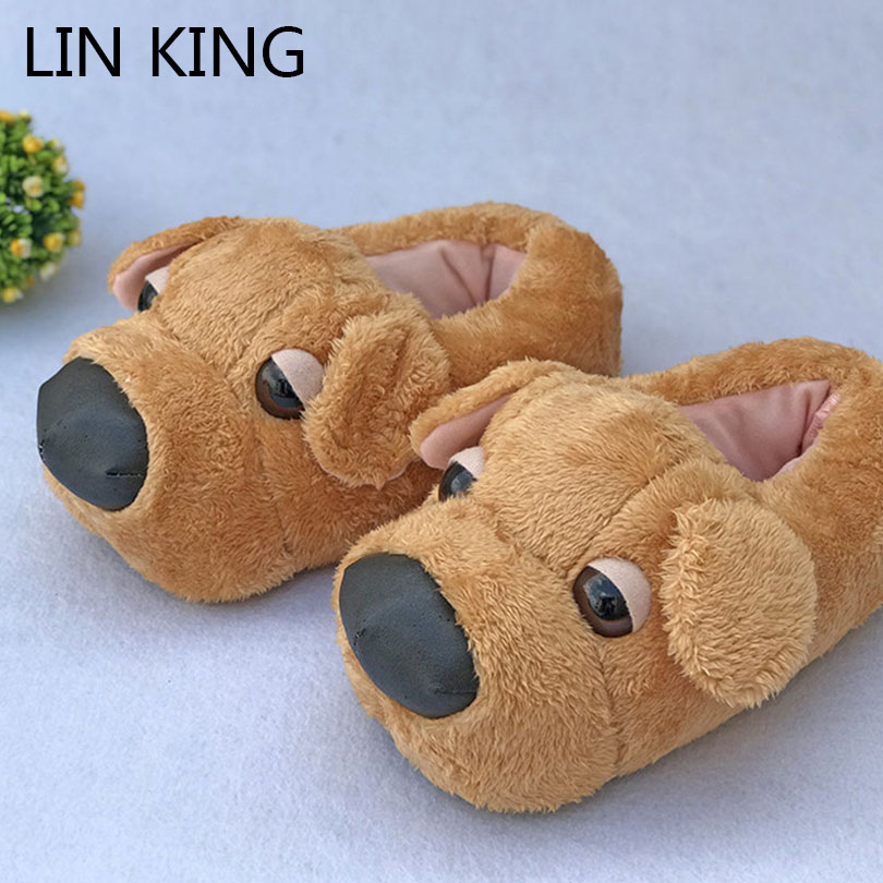 LIN KING New Cartoon Dog Unisex Women Men Winter Home Slippers Comfortable Warm Indoor Shoes Lovers Couples Bedroom Cotton Shoes image