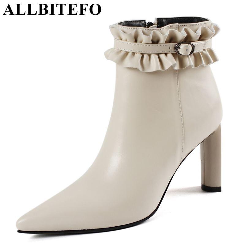 все цены на ALLBITEFO size:33-43 genuine leather women high heel shoes fashion brand high heels ankle boots martin boots girls shoes онлайн