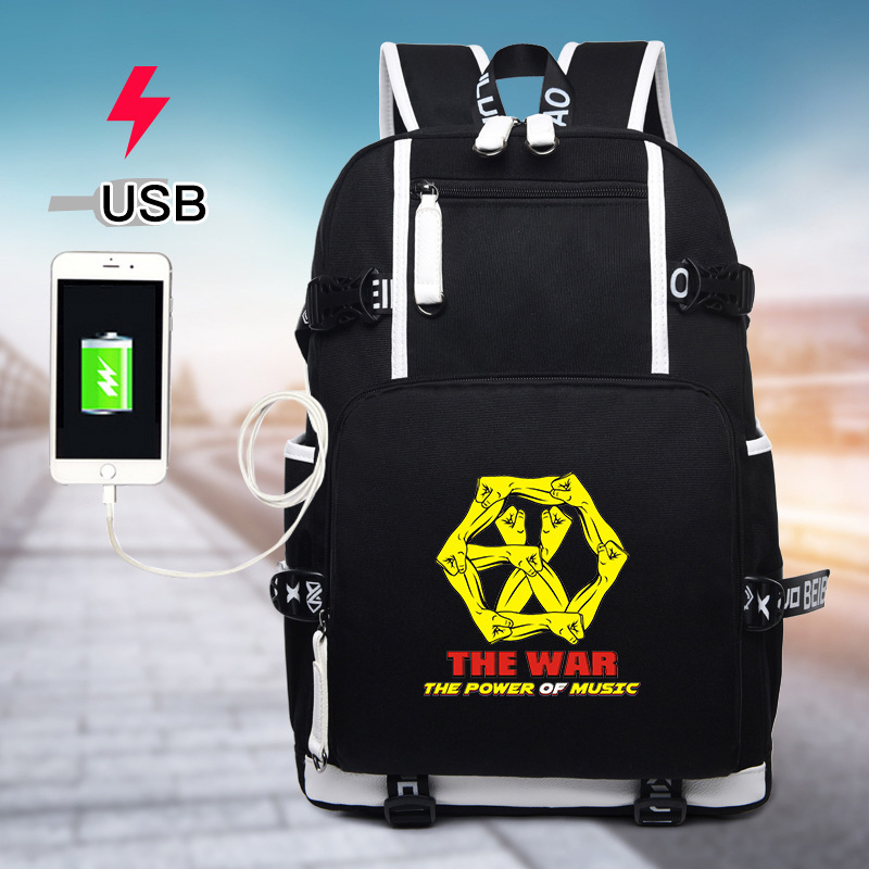 Symbol Of The Brand Exo Exact Monster Lucky One Backpack School Bags Galaxy Thunder Mochila Bags Laptop Chain Backpack Usb Port Luggage & Bags Men's Bags