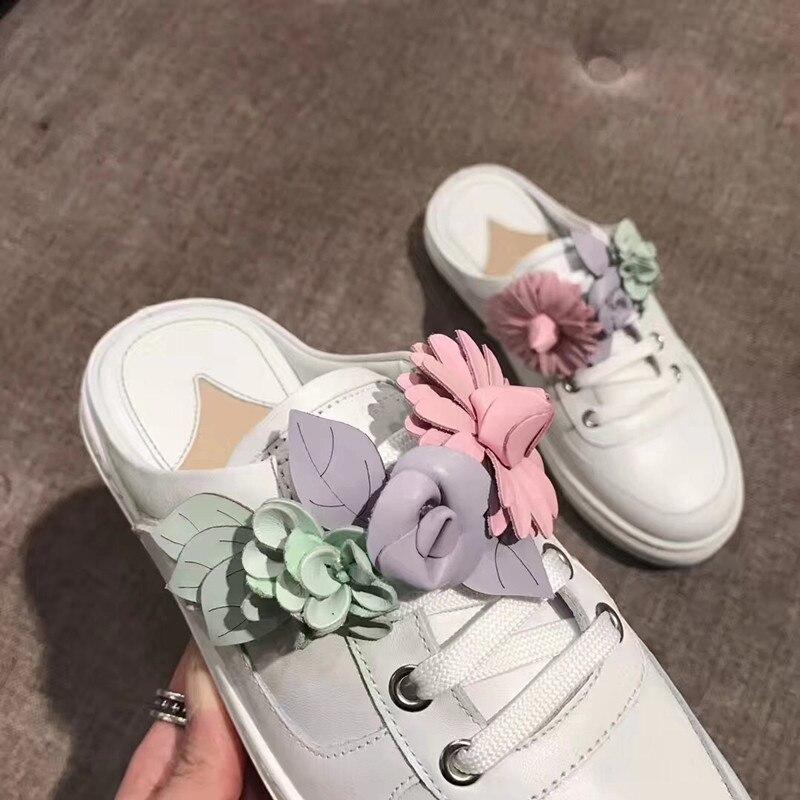 Cuir En Pic Paresseux Sur Spring Up F Hot as Chaussures 2018 Appartements Mules Slip Confortable As Design Marée Lace Vache Summer Casual Pic Femme 8zwTS1