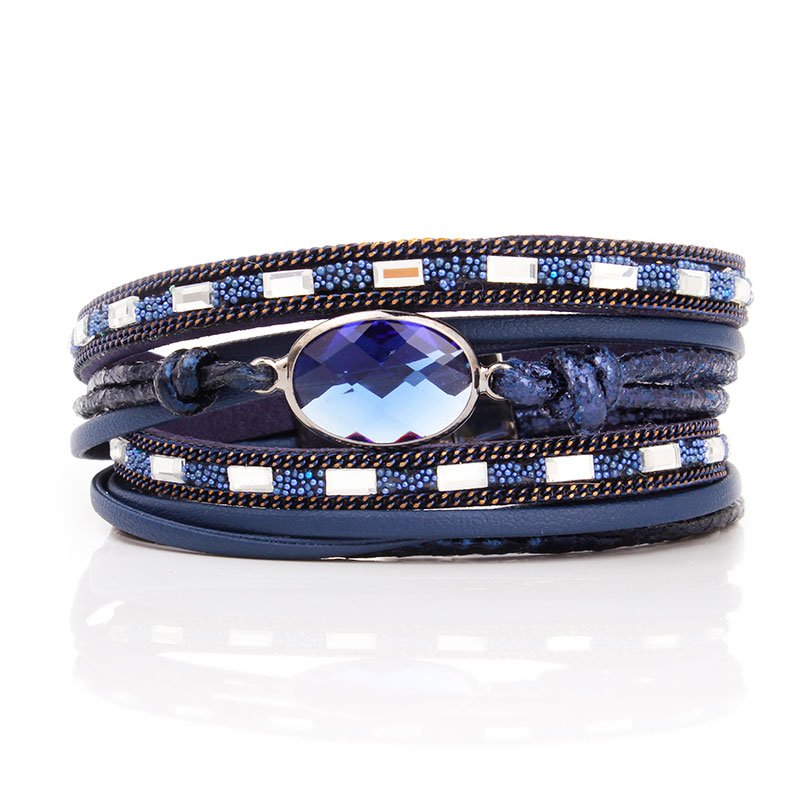 F&U Vintage Color Rhinestone PU   Leather     Suede   Wrap Bracelet Punk Charms Multilayers Magnet Buckle Bracelets Fine For Women