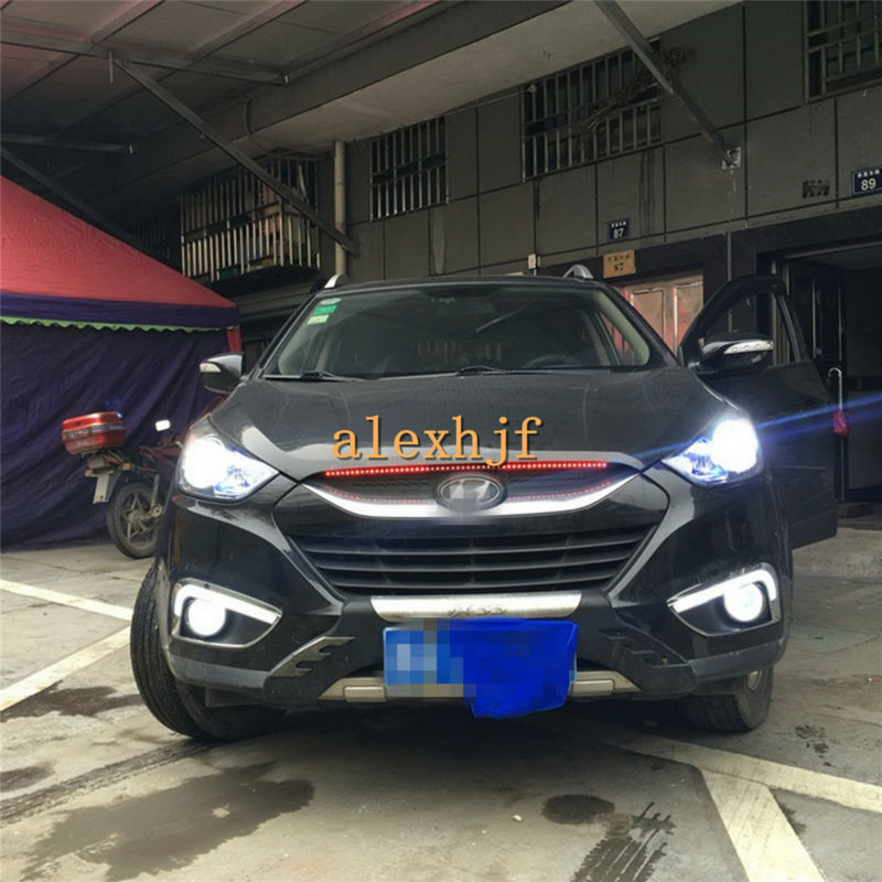 все цены на July King LED Light Guide Daytime Running Lights DRL With Yellow Turn Signal Light Case for Hyundai IX35 2011~ON 1:1 Replacement онлайн