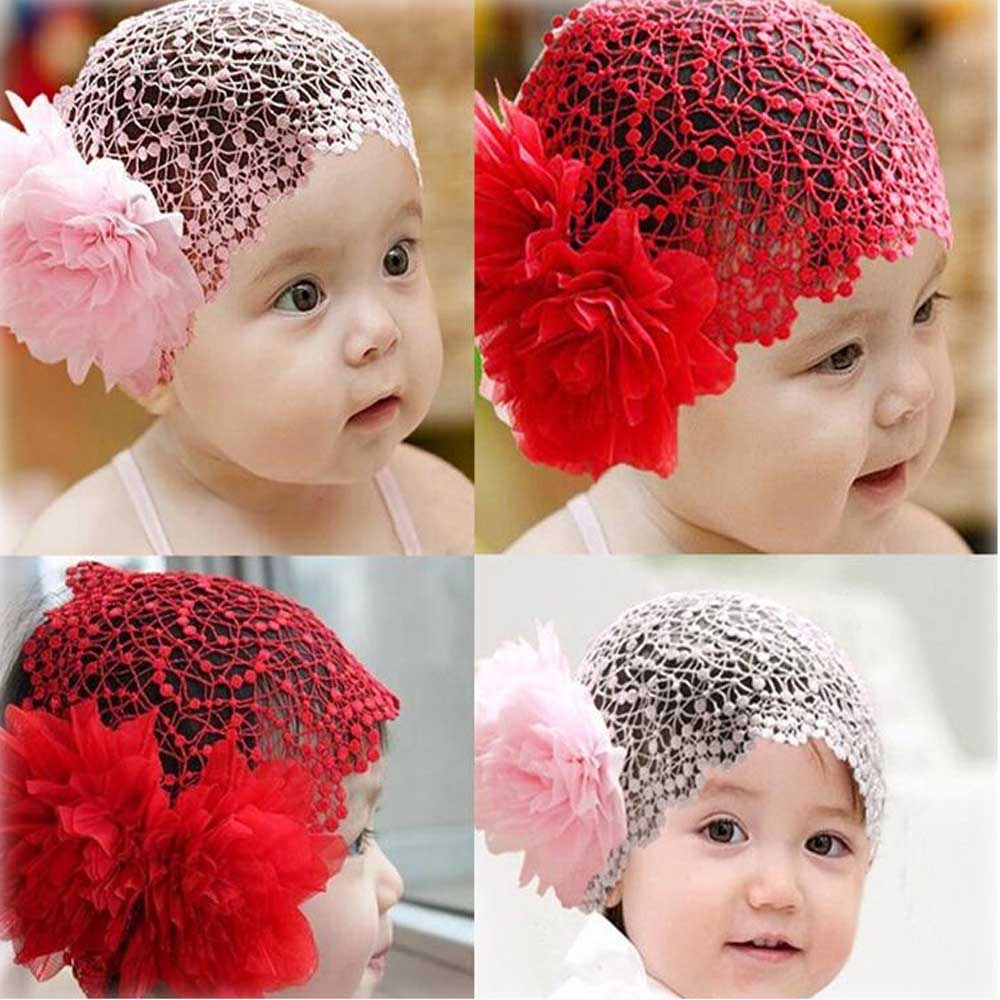 Lovely Fashion Solid Lace Flower Headband For Kid Girls Wide Turban Hair Accessories Spring Summer Breathable Headwear metting joura vintage bohemian ethnic solid satin fabric cross turban elastic headband hair accessories