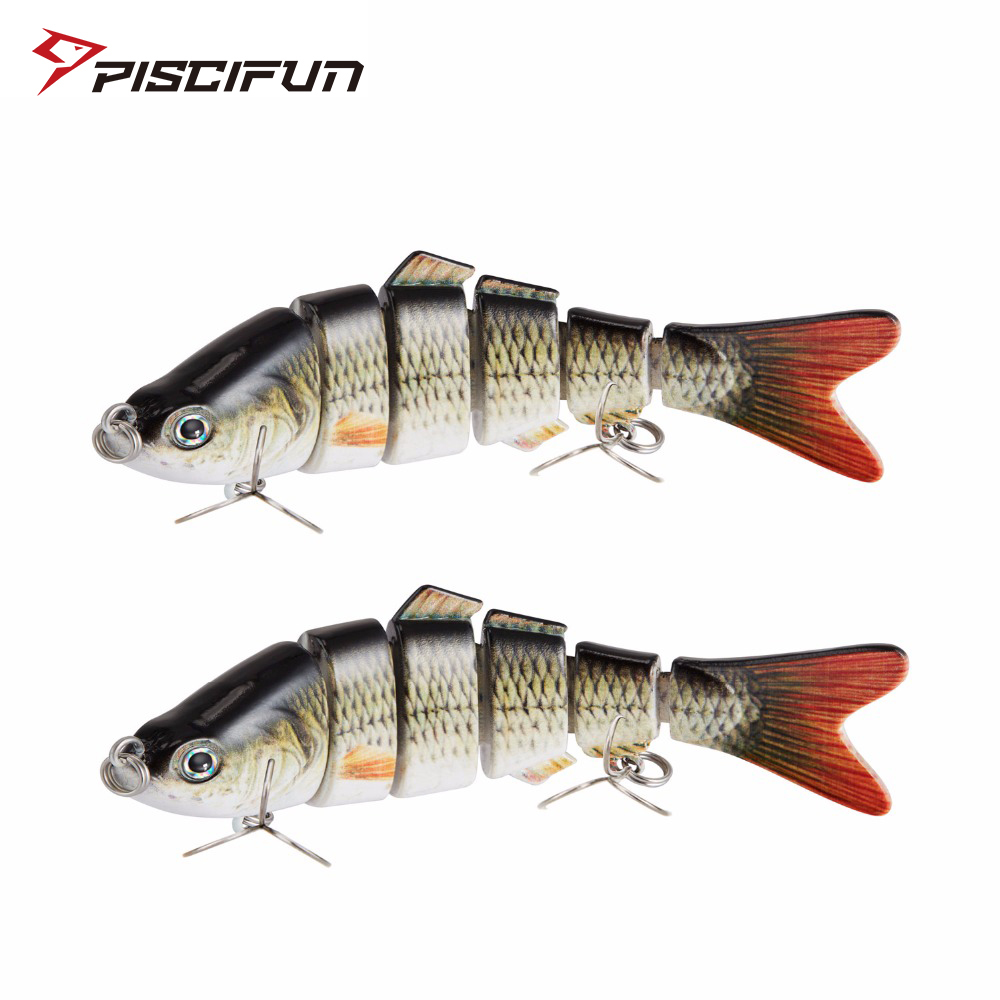 Piscifun 2 Pieces Fishing Lure 10cm 20g 3D Eyes 6-Segment Fishing Hard Lure Crankbait With 2 Hook Fishing Baits Pesca Cebo