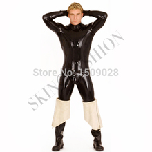f237a5eee2 Latex jumpsuit rubber clothes zentai wearing zip shoulder with removable  gloves and