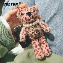 Leopard Print Bear Doll Car Accessories Key Chain Couple Women Bag Pendant Decoration Lady Plush Ring
