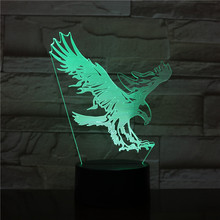 Eagle LED Night Light 3D Illusion 7 Color Changing Decorative Light Child Kids Girl Gift Animals Hawk Desk Night Lamp Bedside цена 2017