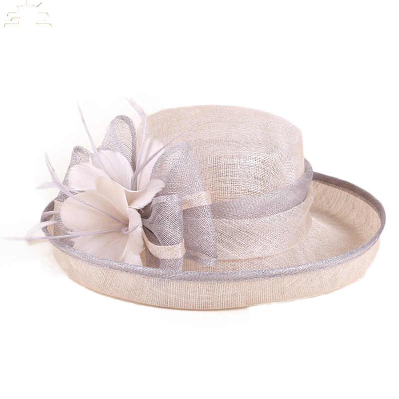 الأسود والأبيض السيدات الكنيسة سيناماي القبعات للنساء الكتان فيدورا الزفاف الشالات واسعة حافة القوس الأزهار كنتاكي ديربي قبعة