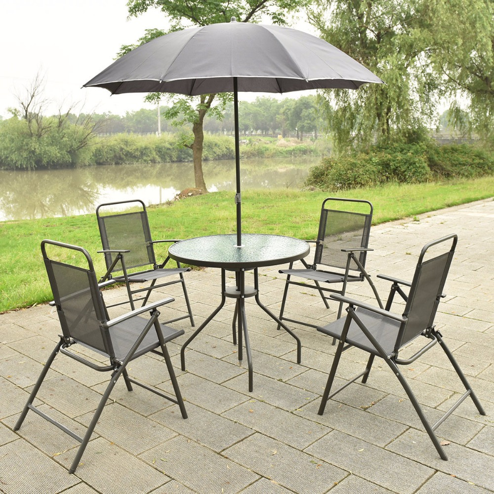 6 PCS Patio Garden Set Furniture 4 Folding Chairs Table with Umbrella Gray New HW52116 bluerise modern outdoor umbrella garden patio sunshade 6 bones folding advertising beach garden tent umbrella villa garden