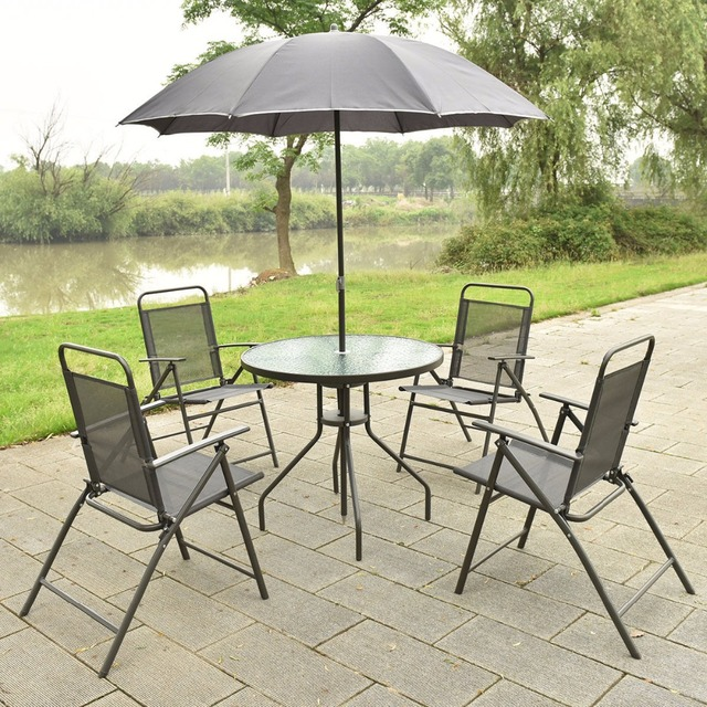 patio folding chair lazy boy lift chairs medicare 6 pcs garden set furniture 4 table with umbrella gray new hw52116