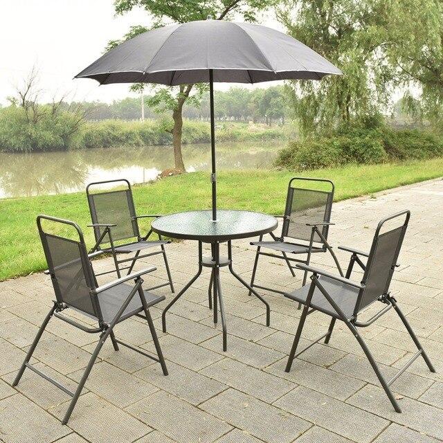 6 unids Patio jardín Muebles 4 sillas plegables mesa con paraguas gris nuevo HW52116 & 6 unids Patio jardín Muebles 4 sillas plegables mesa con paraguas ...