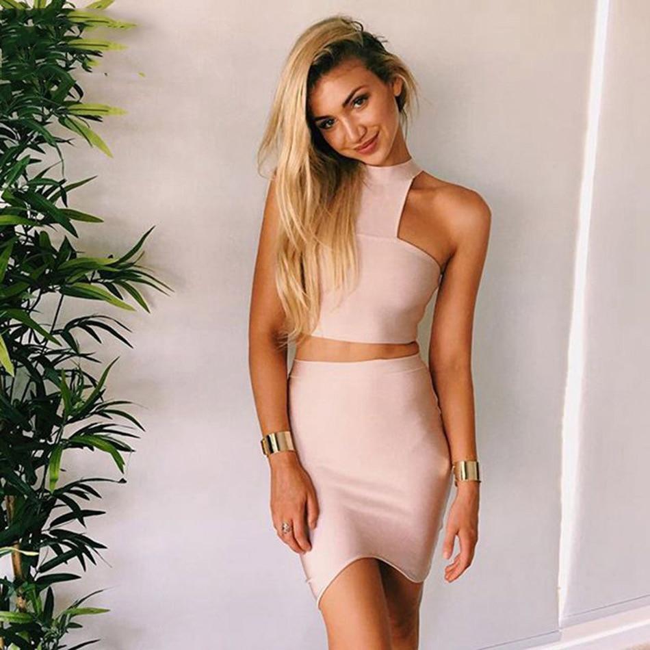 Seamyla 2019 Nové letní šaty Bodycon Two Piece Set Ženy Bandage šaty Sexy bez rukávů Split Celebrity Party šaty Clubwear  t