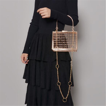 2019 New Metal Hollow Women's handbag chain Shoulder Crossbody Bags Ladies Party Evening Bag Luxury gold Female Bags Clutches
