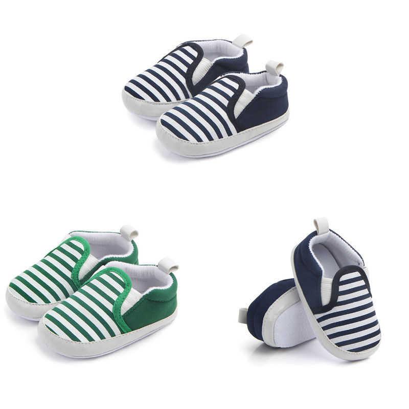 תינוק נערי ילדה פעוט נעלי בד שטוח פסים נעלי אופנה ילדים סניקרס Prewalkers בנות נעליים להחליק על ופרס