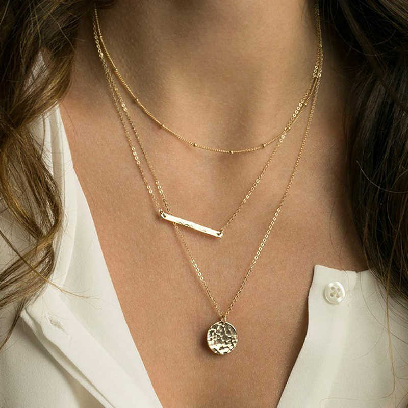 Korean Classic Style Stainless Steel Necklace Ladies Pendant Multi-layer Necklace Women's Necklaces Jewelry  2019