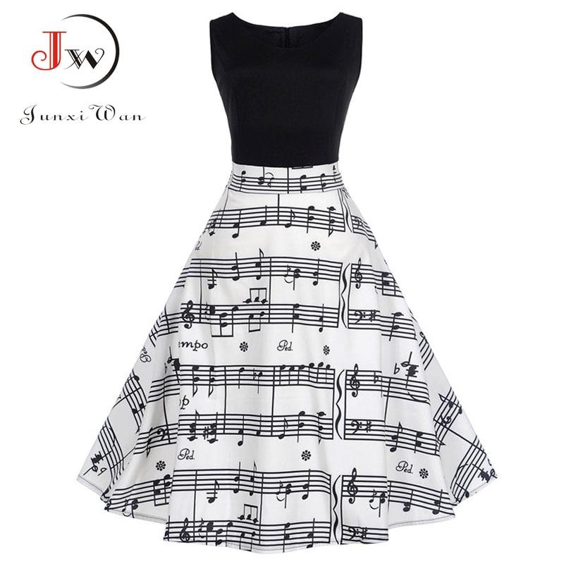 V Collar Music Note Print Sleeveless Dress Summer Big Swing 50s 60s Vintage Dresses Elegant Party Patchwork Dress
