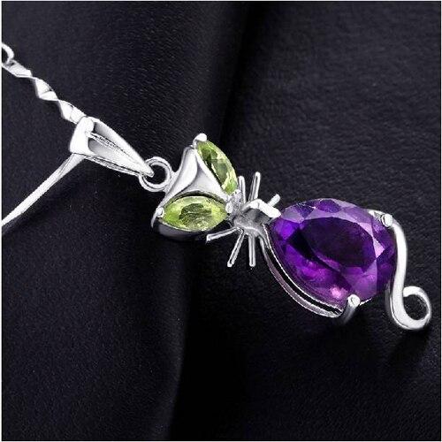 Ци Xuan_Trendy фиолетовый камень кулон кошка Necklaces_Real фиолетовый камень Necklace_Quality Guaranteed_Manufacturer непосредственно продаж