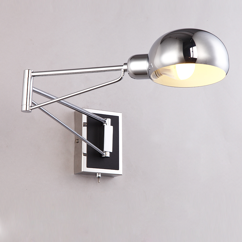 1 pcs  vintage silver chrome wall lamps abajur led Wall Sconce Bedside Reading room mirror Lights ajustable indoor Wall fixtures mirror silver chrome vespa open face