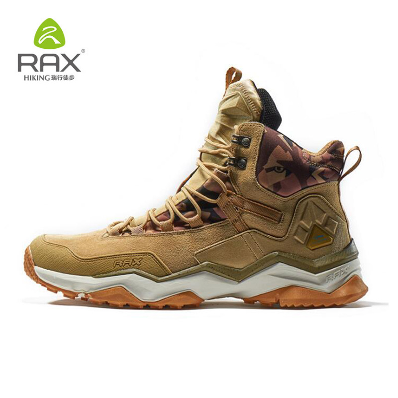 Rax Hiking Boots For Men Genuine Leather Camping Shoes Outdoor Waterproof Trekking Sneakers Brand Cushion Hiking Shoes Plus Size rax 2015 mens outdoor hiking shoes breathable mesh suede trekking shoes men genuine leather sneakers size 39 44 hs25