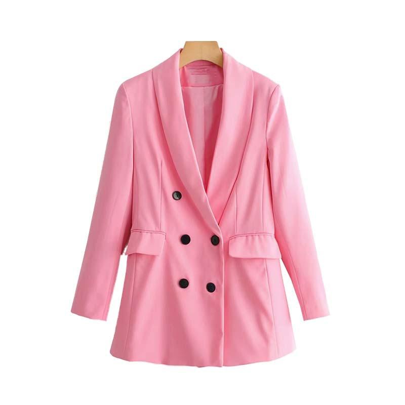 9ae9d78f3 Las mujeres Rosa Blazer para mujer elegante chaquetas 2019 primavera-otoño  Collar dentado doble Breasted trajes niñas Chic top