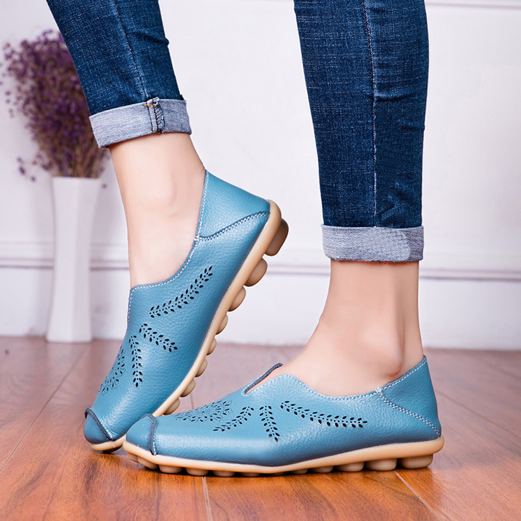 Leisure Women Round Toe Hollow Slip-On Shoes Flat Single Shoes Peas Boat Shoes Shoes Woman Zapatos De Mujer Sapato Feminino 2