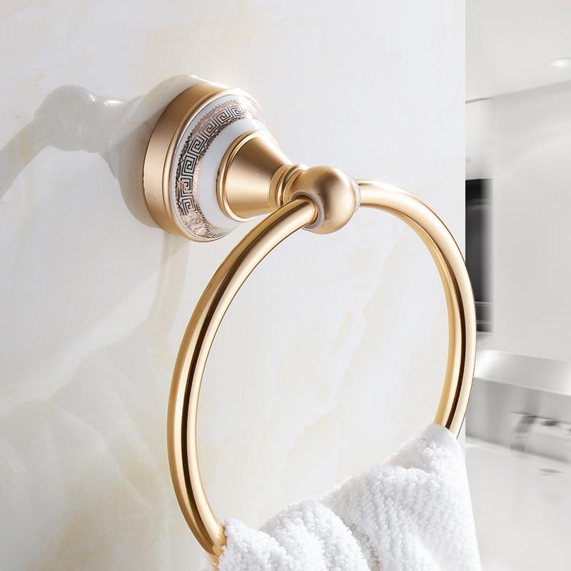 Space Aluminum Towel Ring Round Bathroom Towel Rack Drawing Base Unique Design Jie Sha Lang 2660