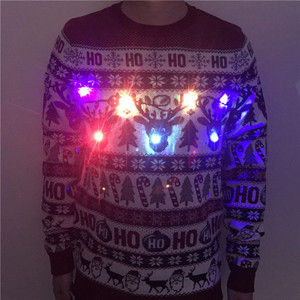 Image 2 - Washable Funny Light Up Ugly Christmas Sweater for Men Cute Reindeer Santa Claus Knitted Xmas Pullover Jumper Plus Size S 2XL