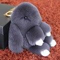 14 cm de Pele de Coelho Rex Saco Keychain Bonito Pompom Pingente Carro Telefones charme Anel Chave Tag Banhado A Ouro Animal Macio Da Corrente Chave chaveiro