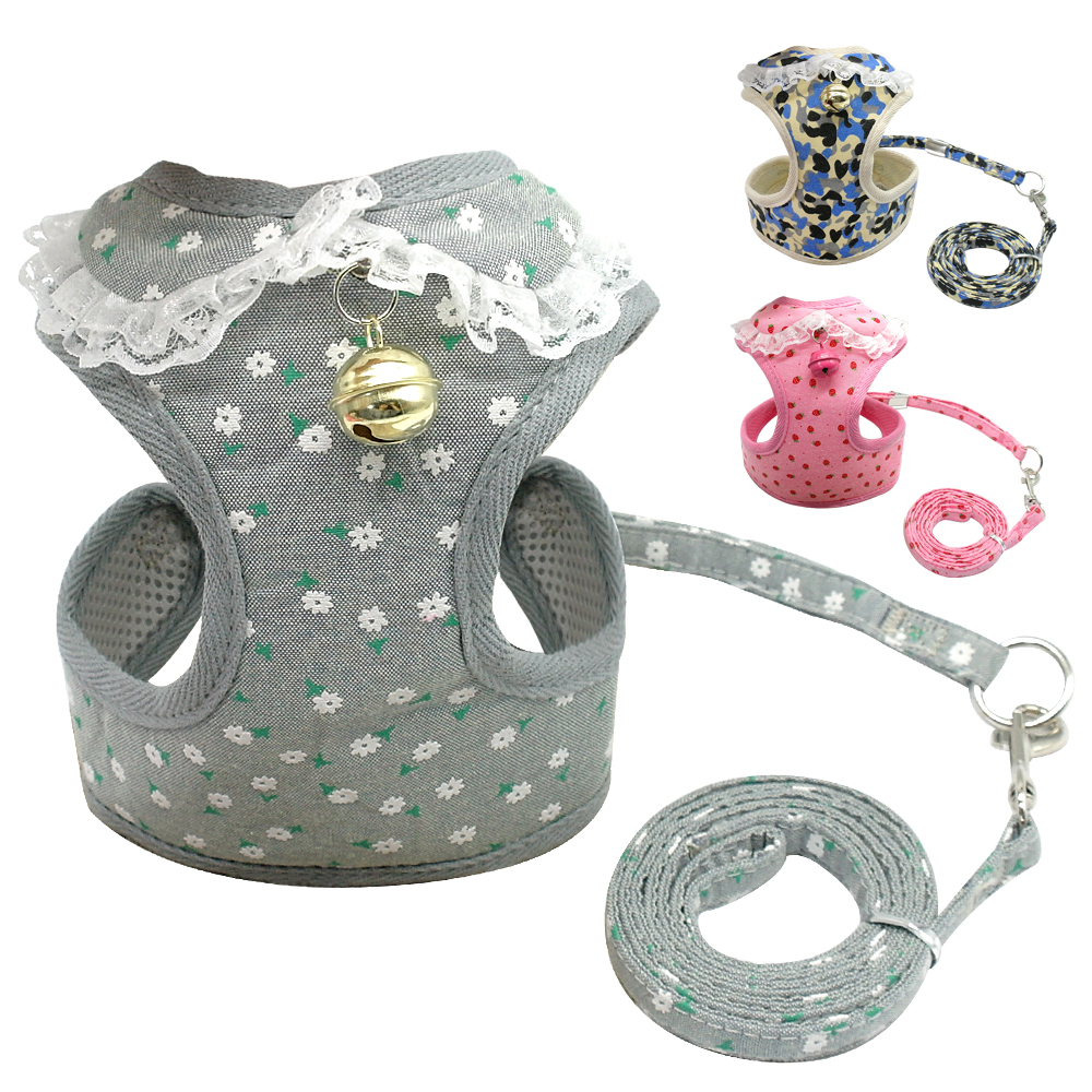 Soft Mesh Pet Puppy Dog Cat Harness Leash Set With Bell Cute Lace Pet Vest For Small Medium Dogs Chihuahua Yorkie Teddy S M L XL