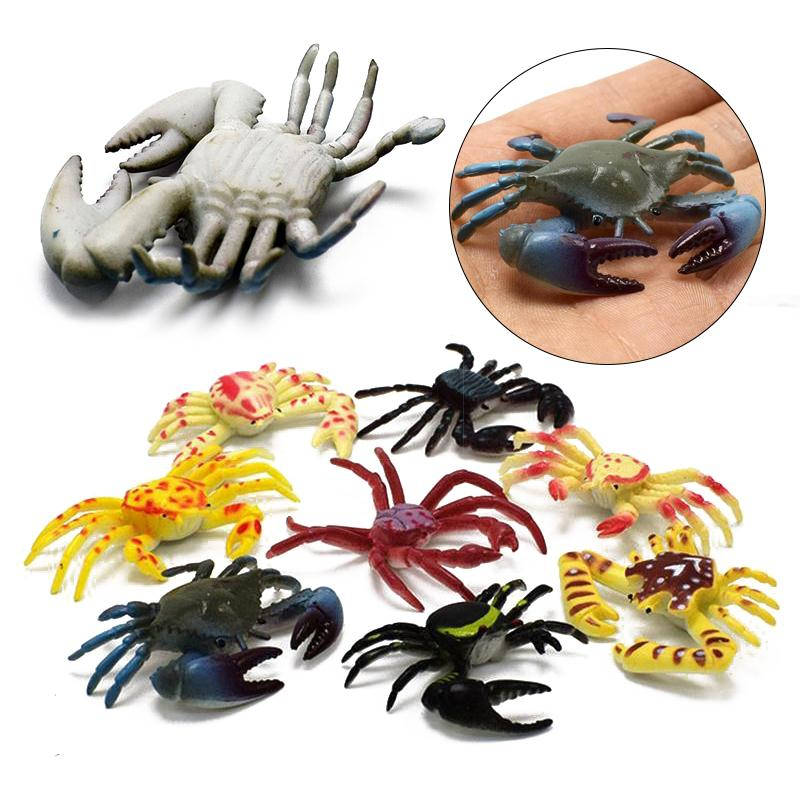 Hot Sale 8Pcs/Set Baby Kids Child Halloween Plastic Crab Simulation Joke Decoration Props Rubber Toys Gift Jokes Gags Pranks