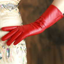 Women Leather Gloves Fashion Genuine Top Quality Red Wrist Goatskin Winter Sheepskin Driving 703