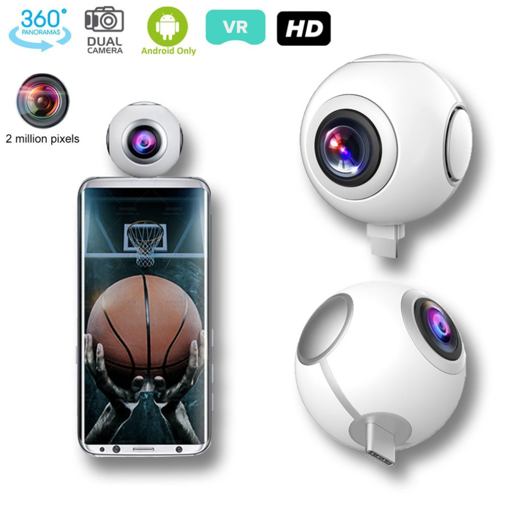 360 Panoramic Camera 2MP HD Dual Wide Lens Video Camera for Android Wireless VR Action Sports Outdoor Activities Camera