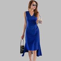 HAMALIEL Women Irregular Sexy Summer Dress 2018 New Fashion Blue Ruffles Sheath Vest Bodycon Fitted Slim Pencil Fresses Bestidos
