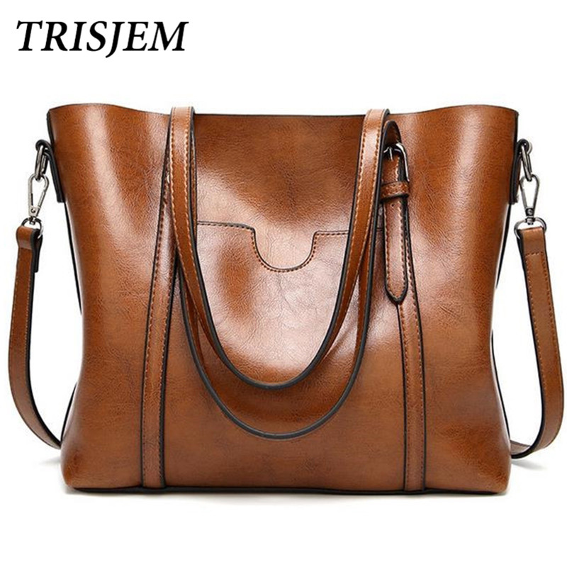 TRISJEM Women Shoulder Bag Oil Wax Women's Leather Handbags Luxury Ladies Hand Bags Messenger Big Tote Sac a Main Bolsos Mujer sisjuly 2017 new leather bag women handbags casual tote luxury brand designer oil wax lady shoulder bags female sac a main
