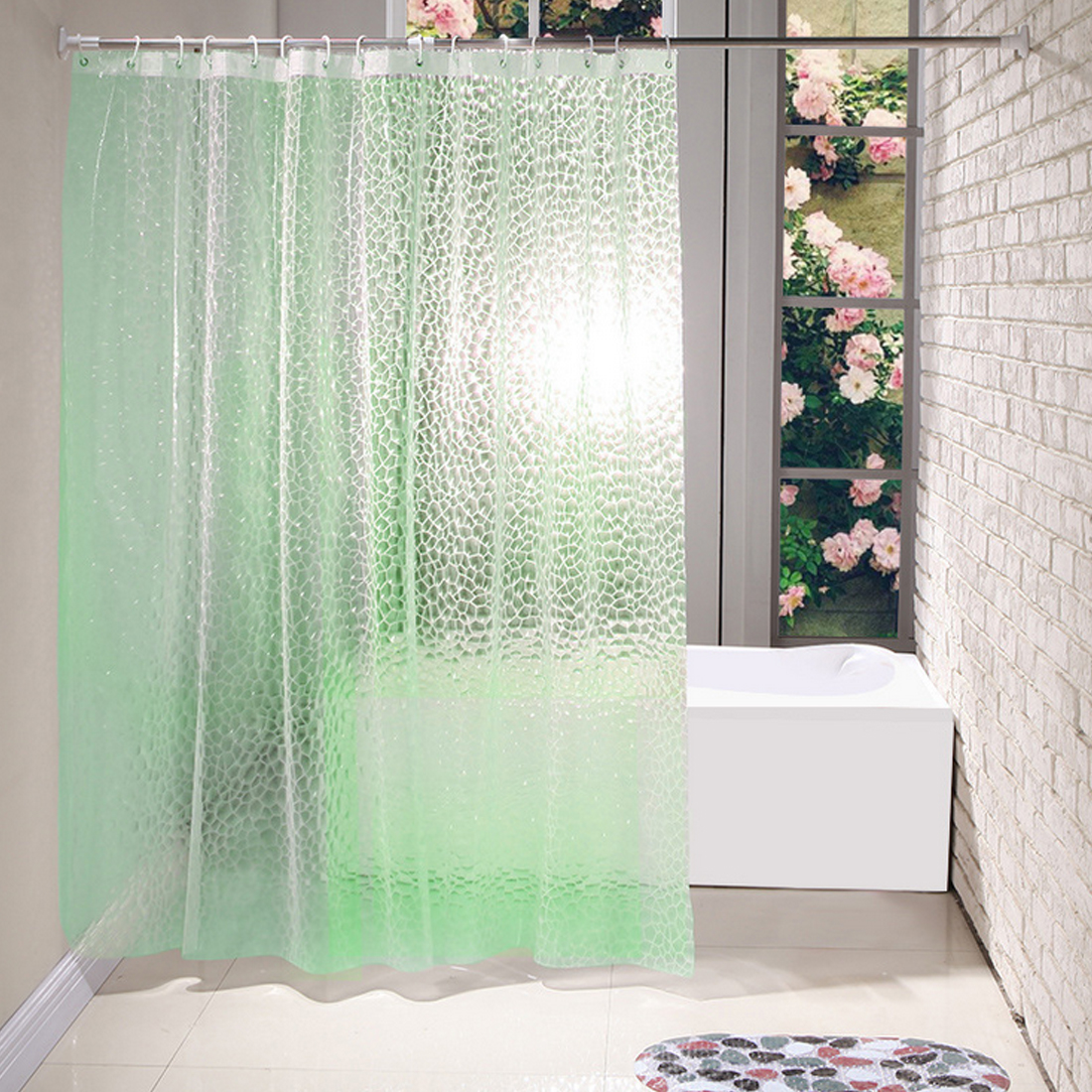 waterproof shower curtain translucent 3d thickened 1.8*1