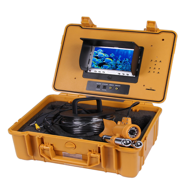 Underwater Fishing Camera Kit with 20Meters Depth Dual Lead Bar & 7Inch Monitor with DVR Built-in & Yellow Hard Plastics Case