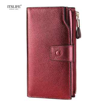 ITSLIFE New Color Women Genuine Leather RFID Blocking Functional Wallet Vintage Long Glint Card Holder Zipper Coin Purse iPhone - DISCOUNT ITEM  0% OFF All Category