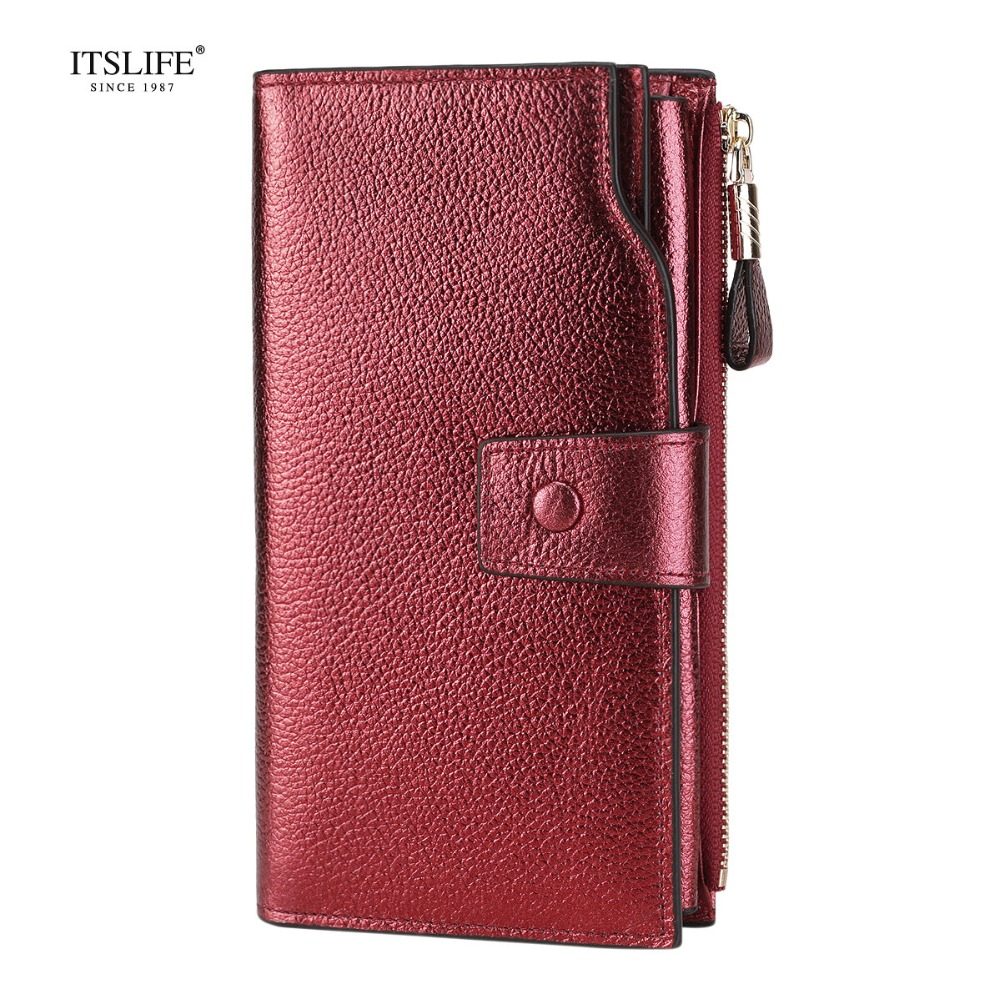 ITSLIFE New Color Women Genuine Leather RFID Blocking Functi