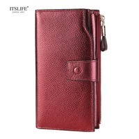 ITSLIFE New Color Women Genuine Leather RFID Blocking Functional Wallet Vintage Long Glint Card Holder Zipper Coin Purse iPhone