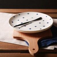 Geschirr Teller Auf verglast Runde 8 Zoll Heimtextilien Blau Weiß Baby Atem Floral Steak Platten Bogen gedruckt Großhandel