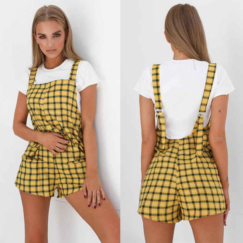Womens Casual Losse Playsuit Sexy Zomer Backless Jumpsuit Plaid Geel Jumpsuit Band Harembroek Sunsuit Shorts
