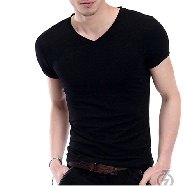 3968 tight v neck t shirt men short sleeve black and white for Tight collar t shirts