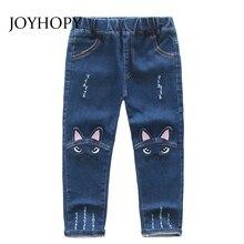 Милые детские джинсы с рисунком; сезон весна-осень-зима; детские штаны высокого качества с милым котиком; повседневные брюки; джинсы для маленьких девочек
