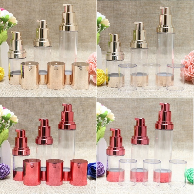 524ed766085 Gold Red Empty Cosmetic Container Airless Pump Plastic Bottles Makeup Tools  Lotion Refillable Bottle 15ml 30ml 50ml F2017868