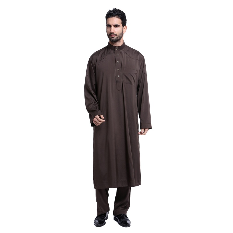 2017 New Muslim Men Long Sleeve Thobe Islamic Clothing Saudi Arab Moslim Jurk Clothing Mens Kaftan Thobe Plus Size