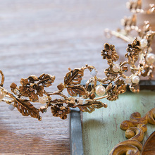 Hoja de Oro de época Nupcial Tiara Tiaras Corona Pelo de la Boda Accesorios de La Perla Barroca Joyería Pelo de Las Mujeres