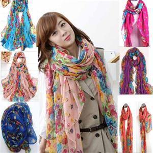Fashion Pastoral Style Soft Silk Blend Scarf Wrap Floral Print Women Elegant Scarves